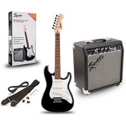 Fender Squier 0371823406 Stratocaster Electric Guitar Starter Package w/Gig Bag & Frontman 10G Amp ,Black