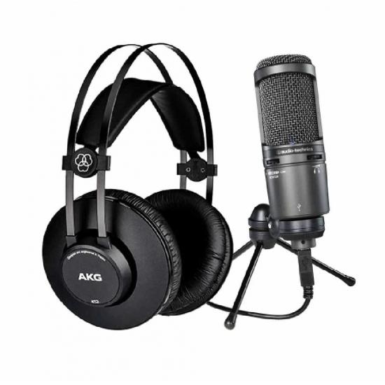 Audiotechnica A2020 USB plus With AKG K52 Headphones Bundle