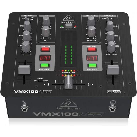 Behringer Pro Mixer VMX100USB 2-channel DJ Mixer