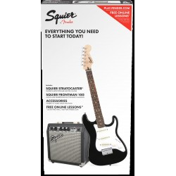 Fender Squier 0301812406 Short Scale Strat Pack Sss In Black With Frontman 10g Amp & Accessory Pack