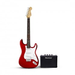 Fender 0370910558B Squier MM Stratocaster HT Electric Guitar Red Bundle