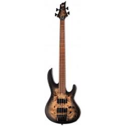 ESP LTD D Series 4-String Bass, Burled Poplar Top, Black Natural Burst Satin Finish