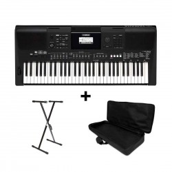 Yamaha PSR-E463 61-key Portable Keyboard with Free Bag and Stand Bundle