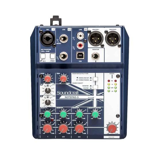 AKG P5S High-Performance Dynamic Vocal Microphone, Soundcraft Notepad 5 mixer with AKG K240 Headphone Bundle